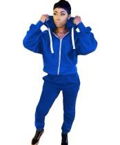 Herbstblauer Zip Up Hoodie Trainingsanzug