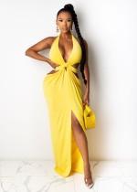 Летнее простое сексуальное длинное платье с глубоким V-образным вырезом и холтером