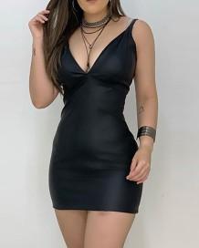 Minivestido festa sexy preta com alça de couro pu
