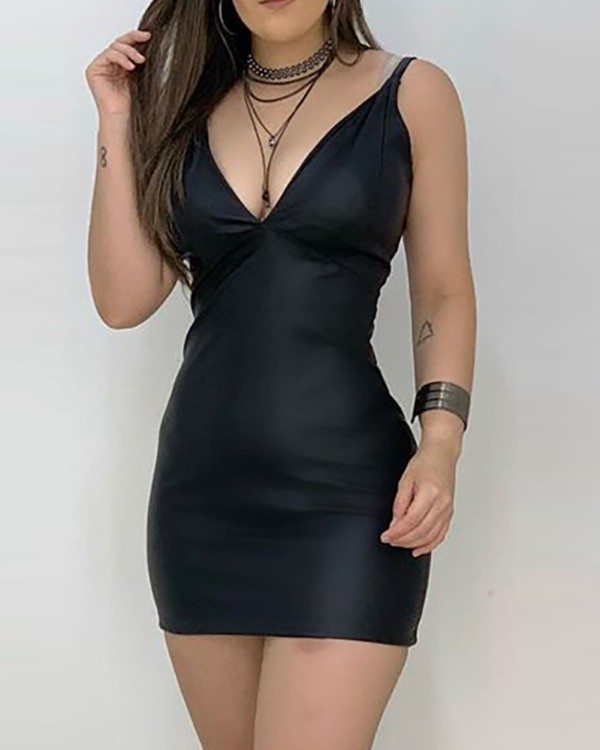 Party Sexy Black PU Leather Strap Mini Dress