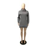 Vestido con capucha gris con estampado casual de otoño
