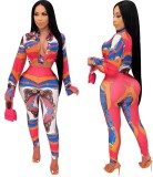 Conjunto de pantalón y top corto ajustado con estampado colorido africano de otoño