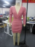 Mini vestido fruncido envuelto rosa fiesta de otoño