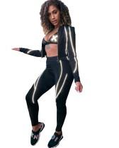 Autumn Fitness Crop Top und Hosen Zip Up Trainingsanzug