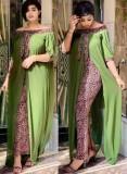 Vestido largo de gasa con retazos y hombros descubiertos africanos