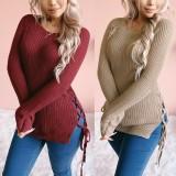 Haut en tricot uni uni à lacets et col rond d'automne