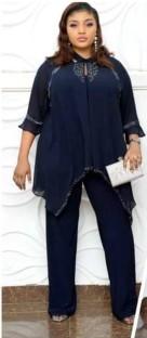 Conjunto de pantalón y top de gasa de otoño de dos piezas maduras de madre africana de talla grande