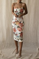 Yaz Romantik Vintage Askılı Çiçekli Midi Elbise