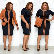 Plus Size African Mother of the Bride Midi Dress with Matching Jacket