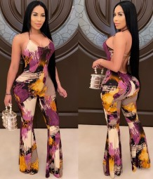 Summer Party Sexy Backless Colorful Halter Jumpsuit