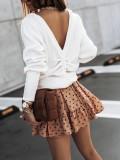 Camisa suelta con cuello en V liso liso de otoño
