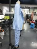Herfst bijpassende blauwe lange blazer en broekpak