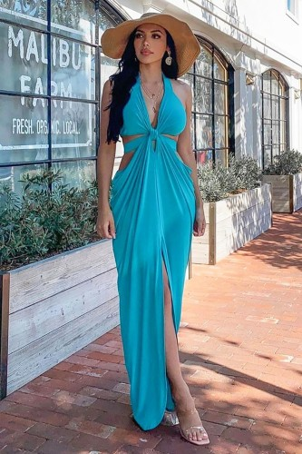 Summer Plain Sexy Deep-V Cut Out Halter Long Dress