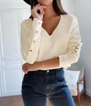 Autumn Solid Plain V-Ausschnitt Stricken Basic Top mit Button-Up-Ärmeln