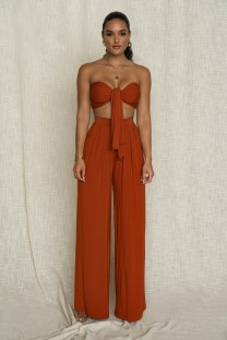 Summer Sexy Plain Knotted Bandeau Top and Wide Legges Pants Set
