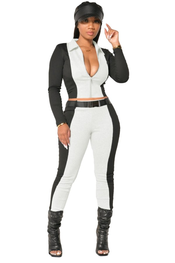 Conjunto de pantalón y top corto a contraste informal de otoño con cinturón