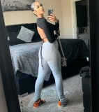 Pantalones de pila de cintura alta sexy gris otoño
