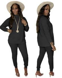 Autumn Casual Plain Two Piece Loose Shirt and Tight Pants Set