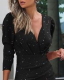 Autumn Party Black Wrapped Ruched Mini Dress
