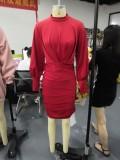Herfstfeest Rode mini-jurk met ruches aan de mouwen en bellen