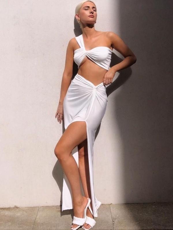 Summer Plain Sexy Crop Top de un hombro y falda larga con abertura