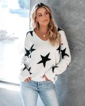 Top de suéter solto com estampa de estrelas de outono