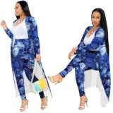 Pantalones azules con efecto tie dye de otoño y conjunto completo a juego