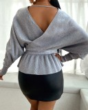 Autumn Bat Sleeves Beaded V-Neck Knitted Grey Peplum Top with Belt