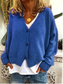 Autumn Solid Plain Button Up Bat Sleeves Cardigans