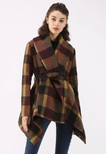 Winter Turndown Collar Wrapped Irregular Plaid Coat with Belt