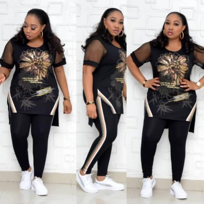 Plus Size African Mother Mature Two Piece Summer Floral Top and Pants Set