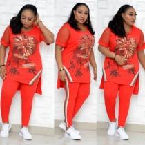 Plus la taille mère africaine mature deux pièces d'été floral haut et pantalon ensemble