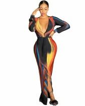Herbst Sexy Deep-V Front-Slit Buntes Abendkleid mit Gürtel