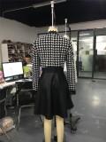 Robe patineuse vintage à glissière blanche et noire Automne