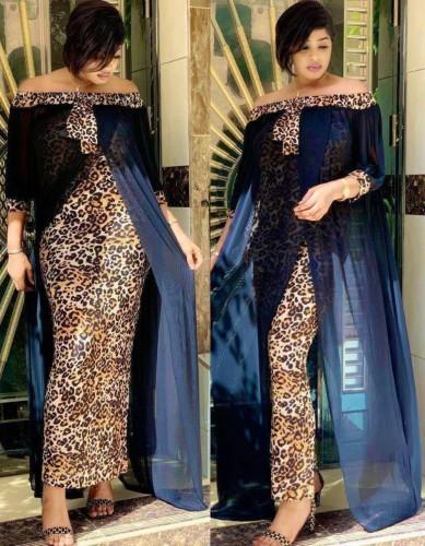 Afrikaanse off-shoulder patchwork chiffon lange jurk