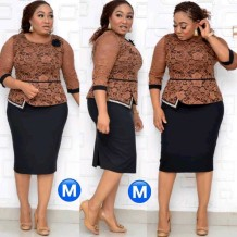 Plus Size frican Mother of the Bride Lace Upper Peplum Dress