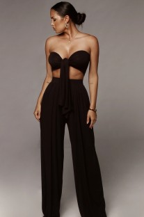 Sommer Sexy Plain Knotted Bandeau Top und Wide Legges Hosen Set