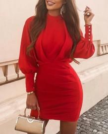Mini vestido de festa de outono com manga bolha vermelha franzida