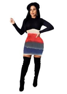 Vestido ajustado de punto de manga larga sexy colorido de otoño