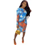 Vestido midi con mangas anudadas y tie dye de otoño África