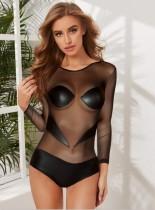 Sexy Langarm sehen durch schwarze Bodysuit Dessous