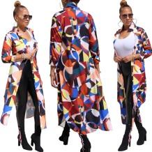 Herfst Afrika kleurrijke geometrische print lange jas
