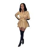Abrigo de vestir plisado de contraste elegante de invierno