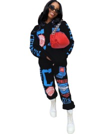 Autumn Long Sleeve Print Regular Hoodie Sweatsuit
