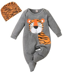 Baby Boy Autumn Print Grey Rompers with Matching Hat