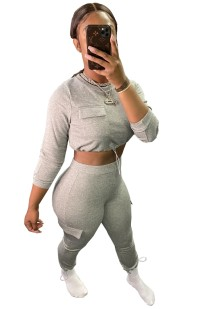 Herfst casual effen crop top en broek set