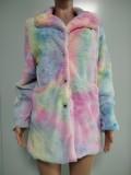 Abrigo largo con bolsillos con cuello de cobertura de invierno Tie Dye