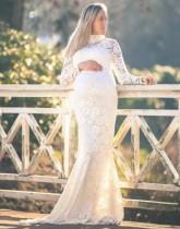 Pregenant Full Lace Langarm Meerjungfrau Brautkleid