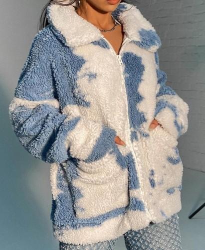 Gola aberta de inverno branco e azul com zíper no bolso, casaco longo