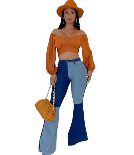Jeans Flare de cintura alta com contraste elegante